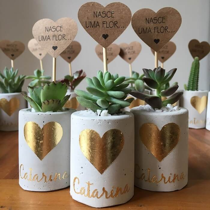 Baby Shower Favors Ideas With Plants with Custom Vases