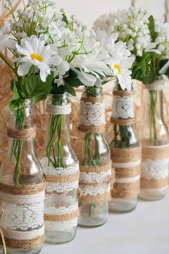 Bottles With Lace Application