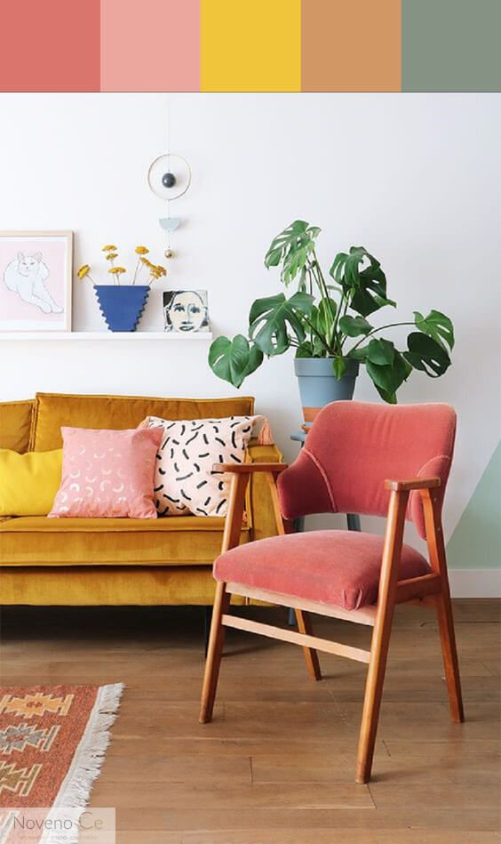 Coral Color Paint In The Living Room