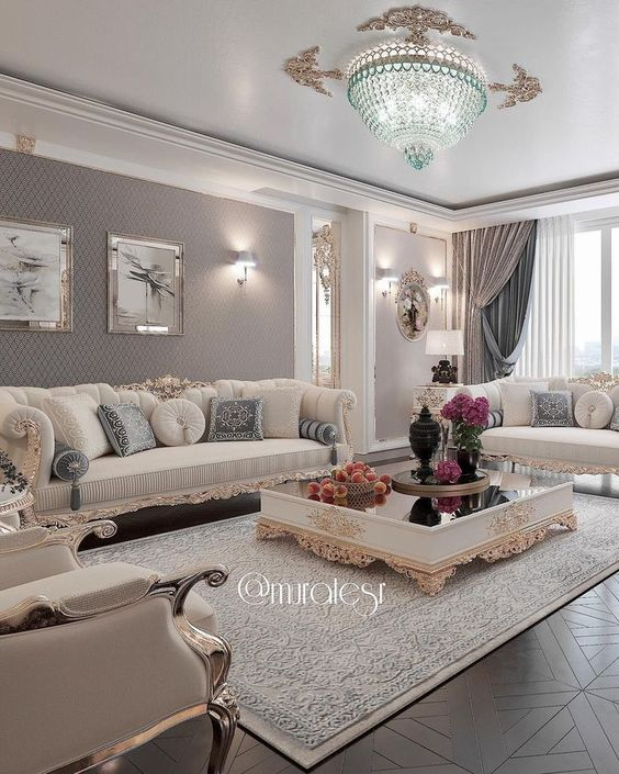 Crystal Chandelier In The Living Room