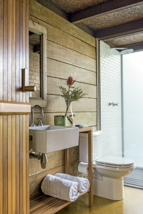 Use Natural Elements To Decorate The Bathroom Farmhouse