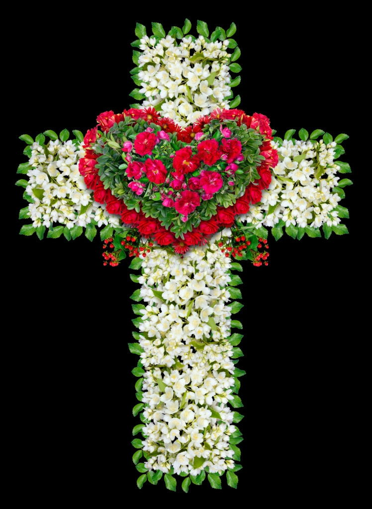 Flower For Funeral Arrangements With Funeral Cross