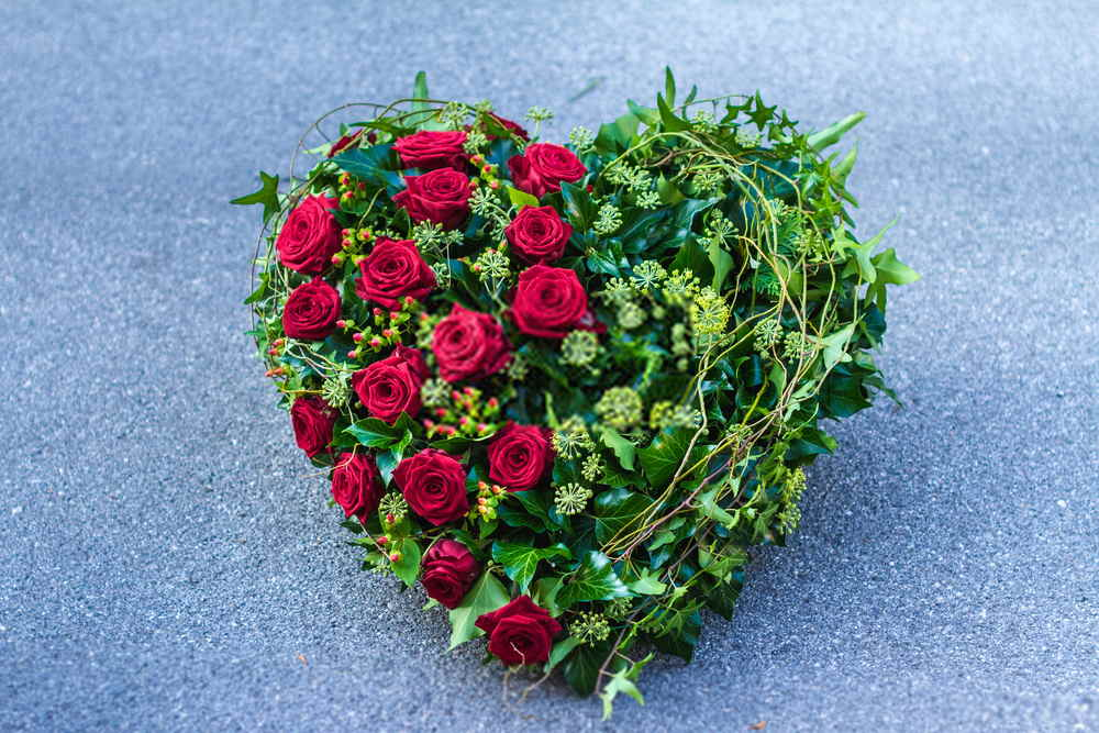 Flower For Funeral Arrangements With Heart Shaped