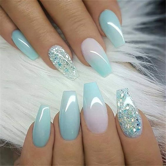 Decorated Blue Nails