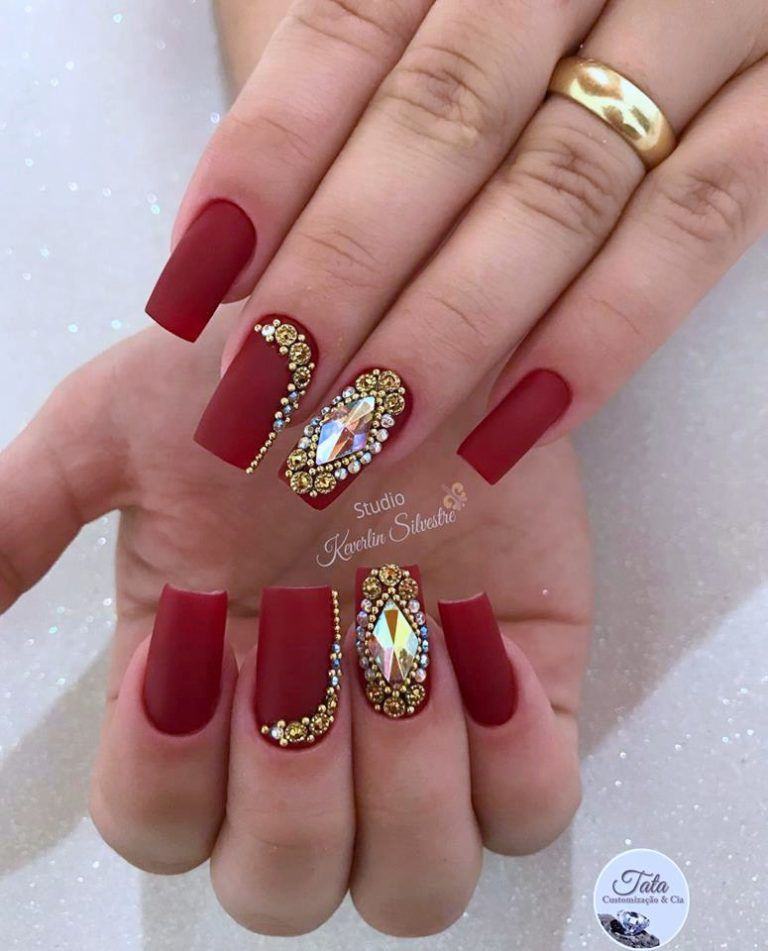 Decorated Red Nails