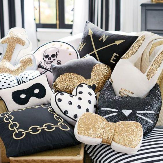 Golden Pillow Decoration