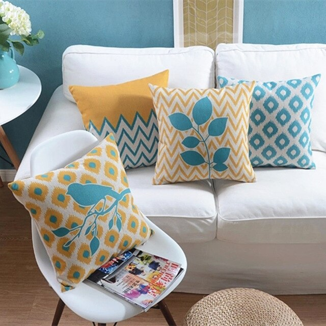 Pillow Decoration For The Sofa With Geometric Patterns