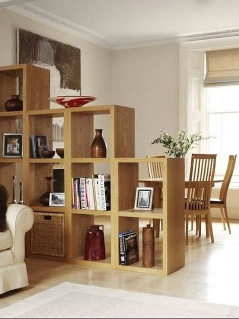 3 Room Dividers with Bookshelves and Objects