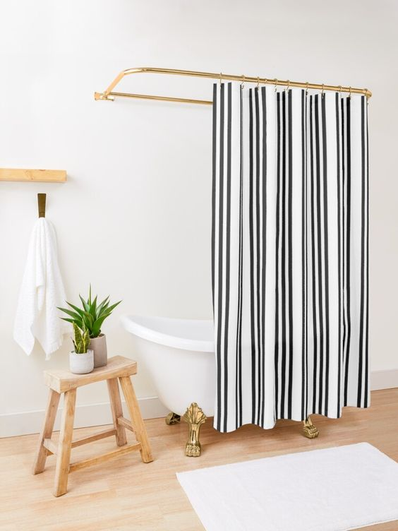 Shower curtains black and white in monochrome style