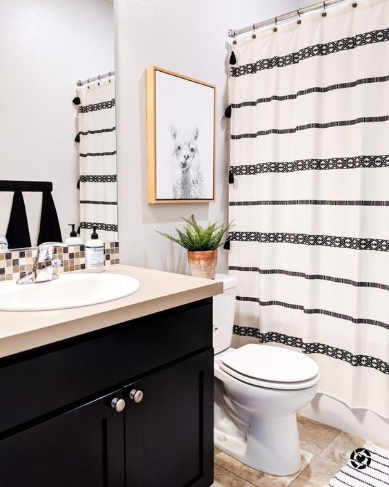 Shower Curtains Black and White