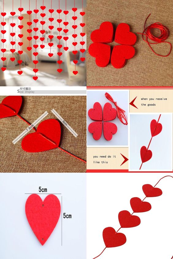 Valentines Day Decor With Heart Curtain