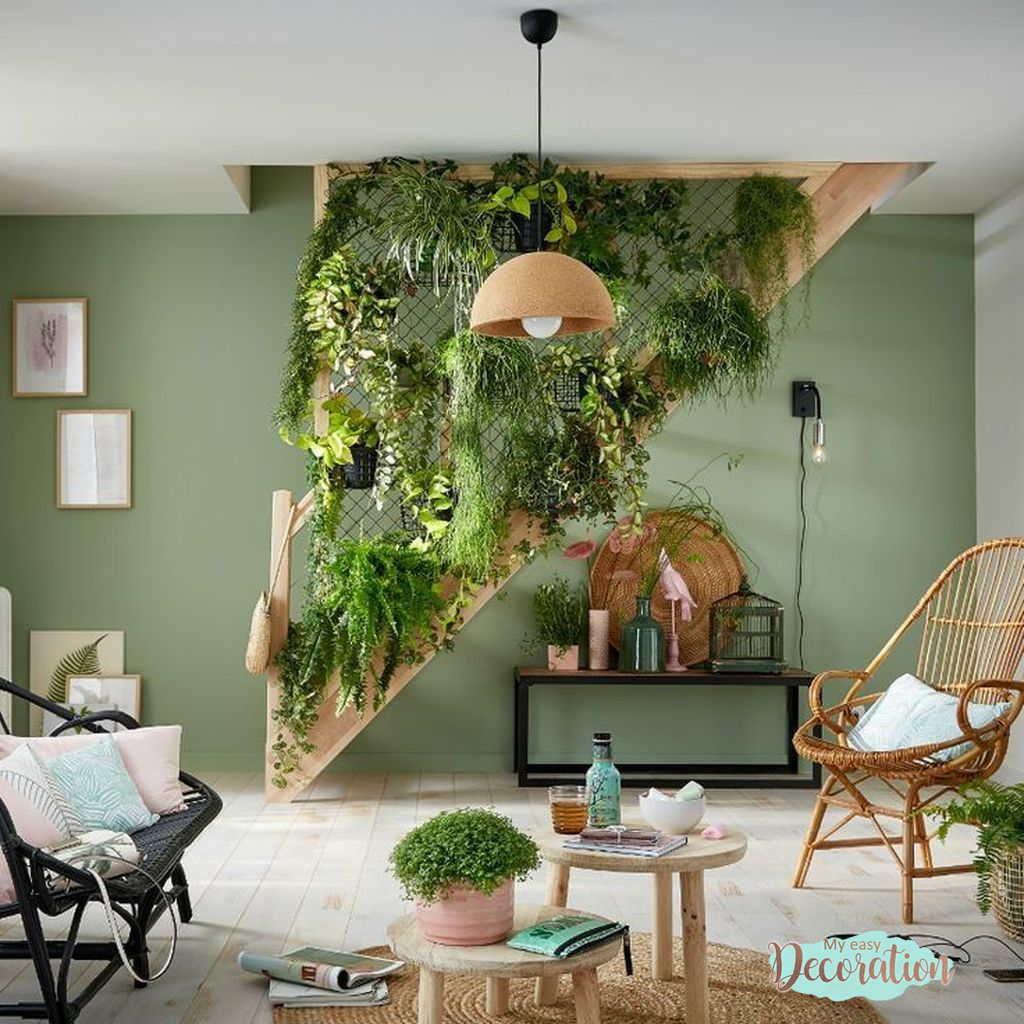 The Charm Of The Green Walls In Living Room