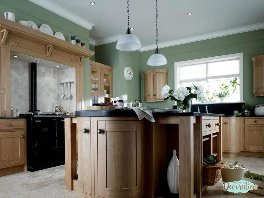 The Charm Of Sage Green Kitchen Walls With Oak Cabinets
