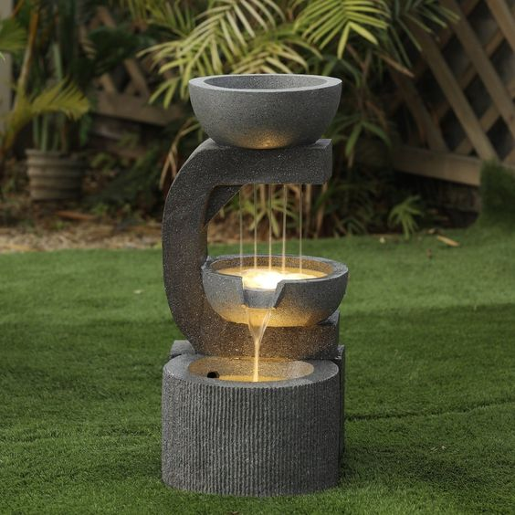 Water Fountain Garden With Lights