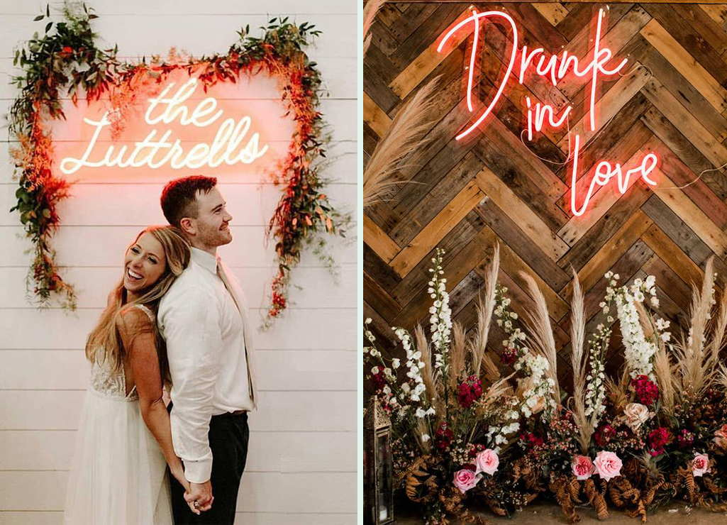 Wedding Decoration With The Neon Signs