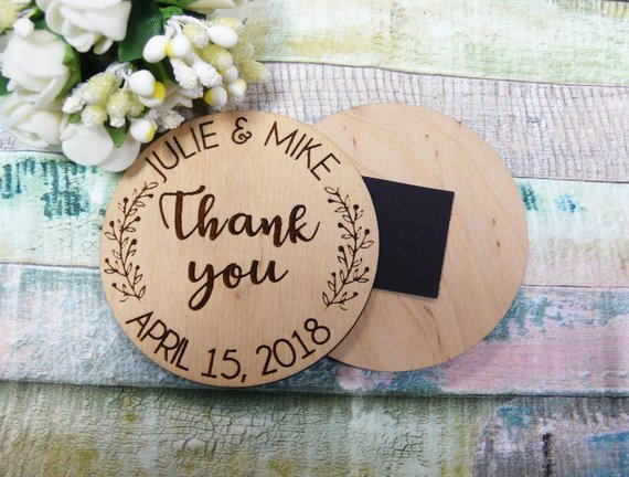 Wedding Favors With Wood Magnets