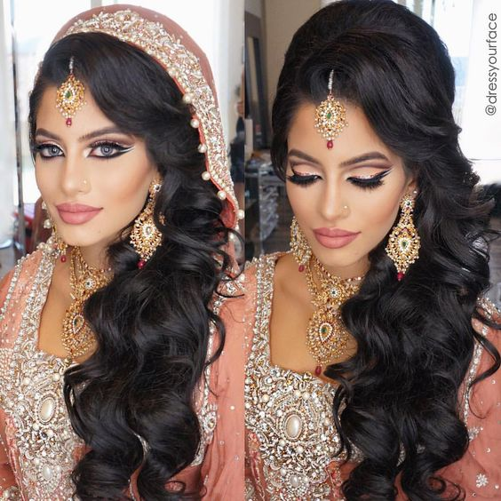 Wavy Wedding Hairstyles Indian With Accessories!
